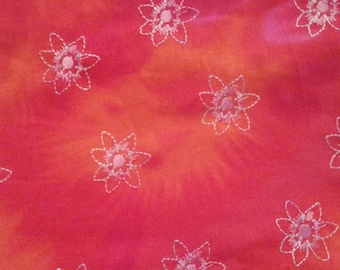 3 Yards Boho Chic Orange to Fuchsia Embroidered Cotton Tie Dye
