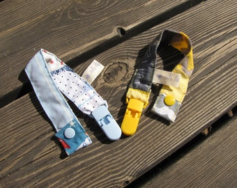 a pair of pacifier clips, pacifier holder, unisex baby gifts, patchwork gift, baby clip, baby pacifier clip, newborn, dummy clip, pacifier