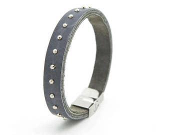 Studded grey cuff, Grey leather cuff bracelet - the Rebelle cuff