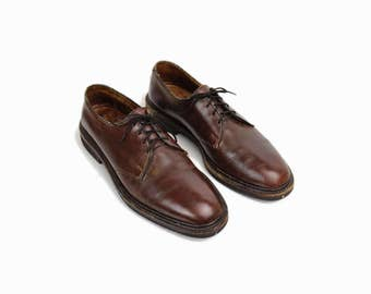 Vintage Allen-Edmonds Leather Shoes / Men's Oxblood Brown Leather Oxfords / Casual Dress Shoes - Men's 7.5 B