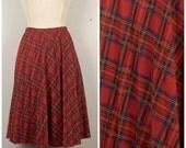 ON SALE red plaid pleated skirt A line tartan soft pleat skirt 70s 80s vintage midi preppy elastic waist large
