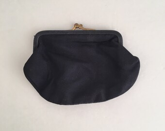 Small Black Coin Purse Satin Faille Grosgrain Fabric 40s 50s Vintage Kiss Closure Change Purse Wallet Snap Lock Money Pouch