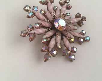 Striped Pale Pink and Aurora Borealis Rhinestone Starburst Brooch Iridescent Snowflake Flower Gold Pin 50s 60s Costume Jewelry