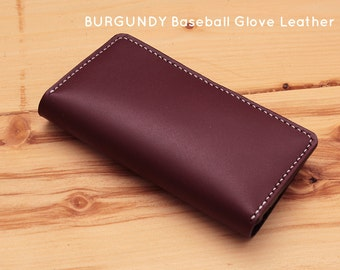 BASEBALL GLOVE BURGUNDY Leather wallet for iPhone (Free Personalization)