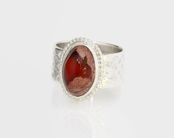 Mexican Fire Opal Stone Ring in Sterling Silver Size 7.5 Handcrafted