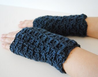Blue jean fingerless gloves, crocheted, handmade, ready to ship