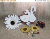 On Sale Farmhouse Fun Country Geese & Craft Items / Vintage Wood, Metal and Polyresin Pieces for Craft Project / Cute Country Craft DeStash