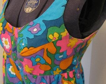 Vintage 60s Lanz Original Sleeveless Mod Mini Dress Go Go Shift Low Back Scoop Neck Colorful Size Small