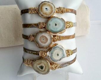 Raw Natural Solar Quartz Patina Cuff Bracelet Wire Wrapped With Brass
