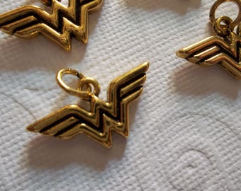 Wonder Woman Charms - D.C. Comics Originals - Gold - Logo Charms - Qty 6