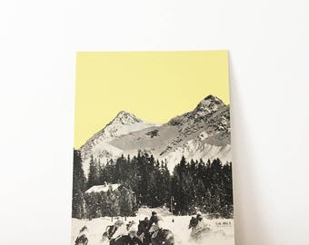 Original Artwork, Unique Mountain Collage, One of a Kind - Winter Races