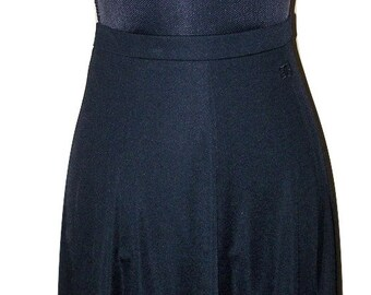 Vintage Givenchy Paris New York Black Nylon A-Line Skirt Sz 6/8