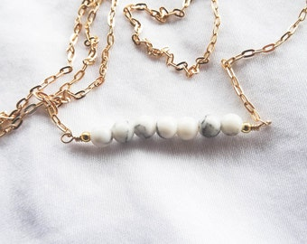Howlite and Gold Beaded Bar Necklace | Gold filled Gemstone Necklace | You're a Gem Collection