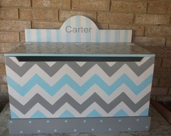 Grey and Turquoise, Toy boxes, Boys Toy Chest, Personalized, Toy Storage, Toy Bin