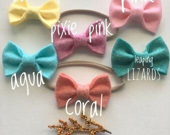 Felt Bow, Baby Bow, Felt Bow Headband Or Clip, Baby Headband, Many Colors