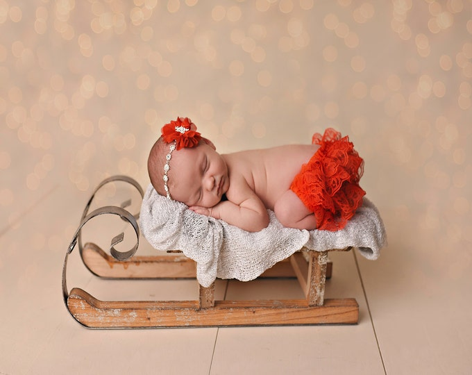 Featured listing image: Red Bloomer and Headband Set, Lace Bloomers, Christmas Photo Prop, Newborn Photo Prop, Diaper Cover, Red Bloomers
