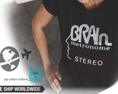 Brain  Records  T shirt band  screen print short sleeve  black shirt cotton