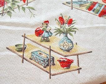 Barkcloth Fabric 1950s Mid Century Modern Home Decor 37 x 38