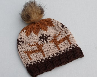 Hand Knit Reindeer Baby Hat. Christmas Baby Hat. Hand Knit Baby Boy Brown Hat. Cotton Baby Boy Hat.