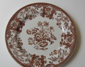 ON SALE Transferware Antique Plate Persian Rose Baker Staffordshire England Collectible Display