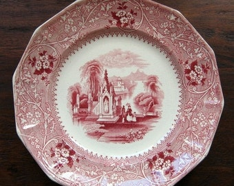 ON SALE Antique 1850 Plate Transferware William Adams Columbia Romantic Staffordshire England Collectible