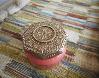 Vintage Avon Collectible  Unforgettable Cream Sachet glass Jar Salmon Pink
