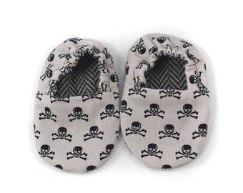 Adorable Reversible Infant Crib Shoes - Skulls & Tweed - Shower Gift, Welcome Baby, Slippers, Baby Boy Moccasins