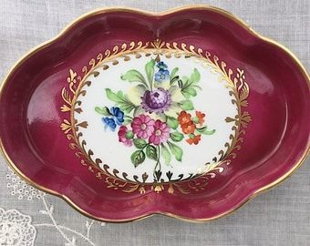 Herend Scalloped Porcelain Tray Trinket Tray Pin Tray Floral China Gift for Mom