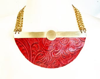 Red leather & Brass Collar Necklace