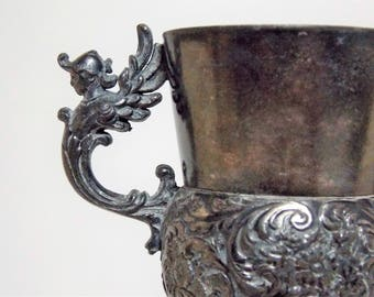 Ornate Silver Plate Double Handle Toothpick Holder Meriden Silver Plate Company