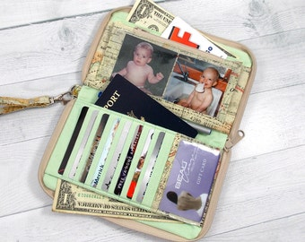 Zip Around Wallet • EPIC • Large Wallet • Made to Order • Detachable Strap • Cell Phone • iPhone Wallet • Gusseted Coin Pouch • Photo Sleeve