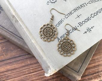Filigree dangle earrings // boho chic earrings // bohemian style earrings // bronze dangle earrings //vintage bronze earrings //gift for her