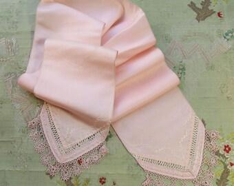 "Antique silk embroidered ribbon sash 4.25x50"" piece tatting lace millinery trim pink blush satin soft  art nouveau flapper"