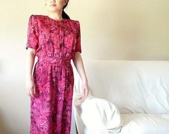 FALL SALE 15% OFF Vintage 80s pink floral dress rose print disco (size s)