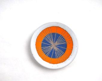 Ceramic Ring Dish, Orange and Blue