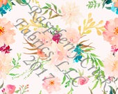 Peach Teal Yellow and Green Watercolor Floral 4 Way Stretch Jersey Knit Fabric, By Melissa Hruban for Club Fabrics, PRE-ORDER