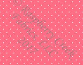 Salmon and White Pin Polka Dot 4 Way Stretch FRENCH TERRY Knit Fabric, Club Fabrics