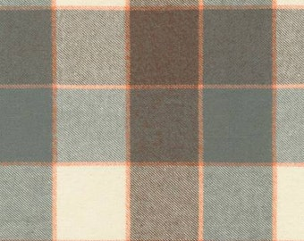 Grey Brown Orange and Cream Plaid Tahoe Flannel by Robert Kaufman, 1 yard