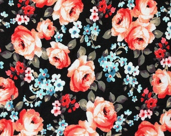 Black Red and Blue Floral Rayon Spandex Jersey Knit Fabric, 1 Yard
