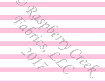 Pink and White Stripe 4 Way Stretch Jersey Knit Fabric, Club Fabrics
