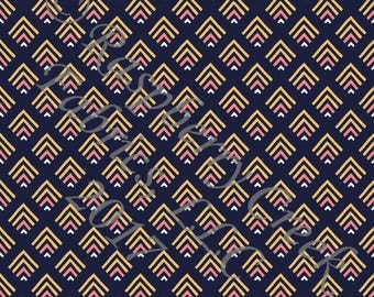 Navy Coral and Mustard Geometric Japanese Chevron 4 Way Stretch Jersey Knit Fabric, By Gwyneth LaSpina for Club Fabrics
