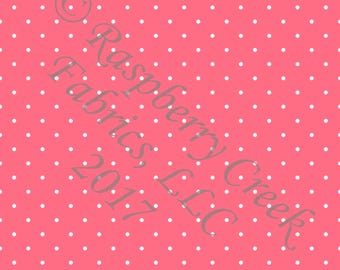 Salmon and White Pin Polka Dot 4 Way Stretch FRENCH TERRY Knit Fabric, Club Fabrics PREORDER
