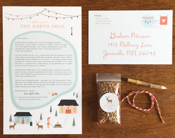 Custom letters from santa complete with reindeer food for Personalized letter from santa with reindeer food