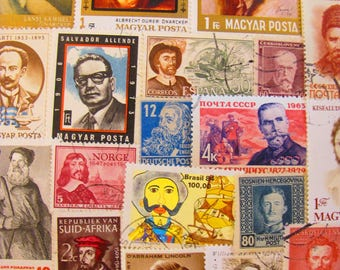 Time To Shave 50 Vintage Facial Hair Postage Stamps Mustache Beard Goatee Extreme Facial Hair Barber Old Men Father US Worldwide Philately