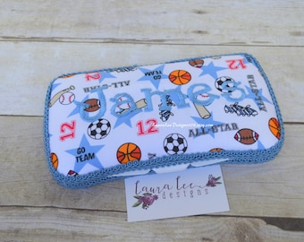Sports Travel Baby Wipe Case, Diaper Wipecase, Baby Shower Gift, Wipe Holder, Personalized Case, Football, Basketball, Soccer, Baseball