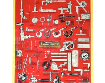 Vintage Tool Poster / Starrett Tools / Precision Tools Poster / LARGE Tool Poster Wall Hanging / Industrial Wall Art / Tool Collection Art