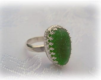 Lime Green Beach Glass Sterling Silver Ring - US Size 8-1/2