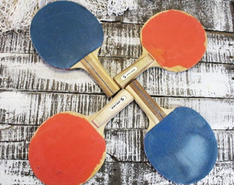 Vintage Ping Pong Paddles for Man Cave Decor, ONE PAIR
