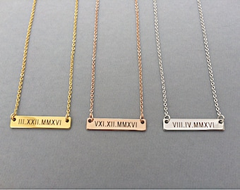 Rose Gold Necklace-Personalized Gold Bar Necklace-Roman Numeral Necklace-Best Friend Gift-Personalized Necklace-Gift For Her-Valentines Gift