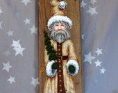 """Golden Christmas Claus, authentic barnwood, hand painted, 5 1/2"""" x 15 3/4"""""""